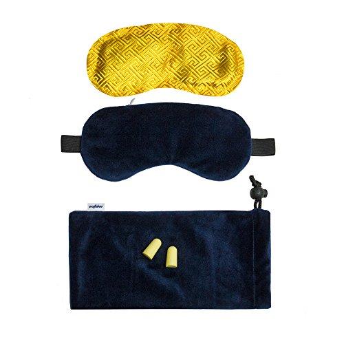 Premium Schlafmaske für Männer & Frauen inkl. Duftkissen (herausnehmbar), Ohrstöpsel & Tragetasche | blickdichtes, weiches Material für besonderen Tragekomfort beim Reisen, Schlafen & Meditieren (Seide Fliege Linie)