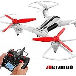 Metakoo Drone con Cámara Cuadricóptero con control remoto RC Quadcopter sensores de luminosidad estabilización dron con cámara de vídeo HD
