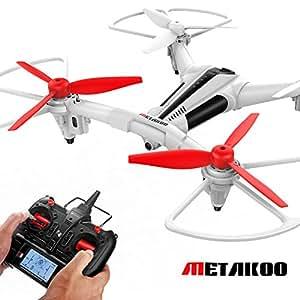 Drone con Fotocamera- Metakoo Droni Quadricottero con telecamera HD 720P 120 ° Angolo Luce a LED Headless Mode 3D Flips Droni Professionali