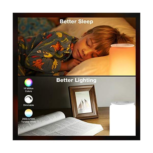 LE Lampada da Comodino Touch Intelligente WiFi, Compatibile con Alexa e Google Home, Luce Notturna 16 Milioni RGB e… 3 spesavip