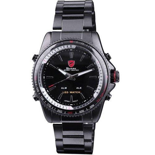 Shark Herren LED Digital Dual Time Display Armbanduhr Schwarz Edelstahlarmband Analoge Quarzuhr SH001 -