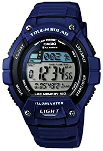 Casio - W-S220-2AVEF - Montre Homme - Quartz - Digital - solaire/Chronomètre/Temps universel - Bracelet Résine Bleu