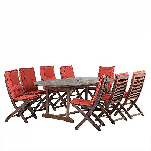 Gartenmöbel - Balkonmöbel - Holzmöbel - Tisch + 8 Stühle + 8 Terracotta Auflagen – MAUI