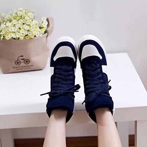 KHSKX-Coreano Marea Di Primavera E Autunno Spesse Scarpe Di Cuoio Lo Sport L'Aumento Del Tempo Libero Per Le Scarpe Tacchi A Spillo Scarpe Scarpe blue