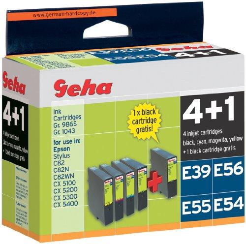 5 Geha Tintenpatronen im Multipack für Epson ersetzt Nr. T0422-T0424 farbig + T0321 schwarz