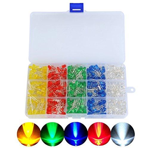 OFNMY 500 Stück LED Leuchtdioden5mm Dioden Set 20mA / 2.0-3.4V Leuchtdioden 2Pin Elektronikkomponenten mit 5 Farben ( Rot Blau Grün Gelb Weiß ) 5 Mm-dioden