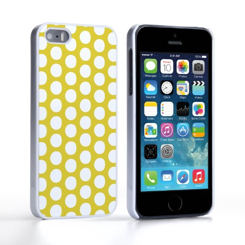 Caseflex Coque iPhone 5 / 5S Etui Vert Lime Pois Dur Housse