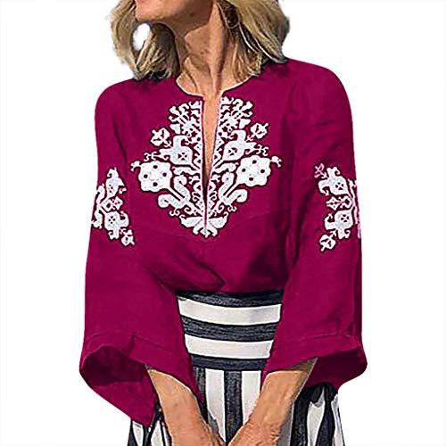 Yvelands Damen Weisefrauen-Blusen-T-Shirt V-Ansatz Plus Größen-Druckmittelhülse einfache Oberseiten-Bluse(Pink,M)