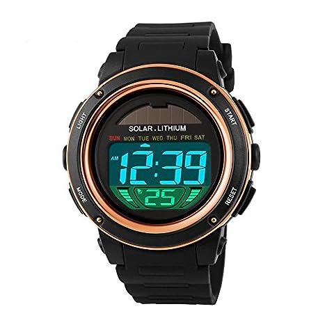 SKMEI 1096Montres Hommes solaire étanche numérique Sport Militaire Montre Fashion extérieur wristwatches-gold