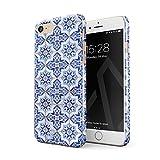 BURGA iPhone 7 / iPhone 8 Hülle Weiß Blau mit Gold Marokkanisch Fliesen Muster Mosaik Marmor Mode Dünn, Robuste Rückschale aus Kunststoff Für iPhone 7/8 Handyhülle Schutz Case Cover