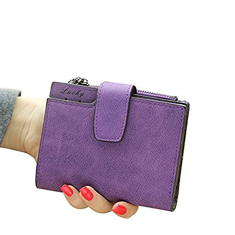 Woolala Women's PU Leather Pocket Wallet with Multi Card Slots, Small Purse with Zipper Change Coins Pocket, Purple