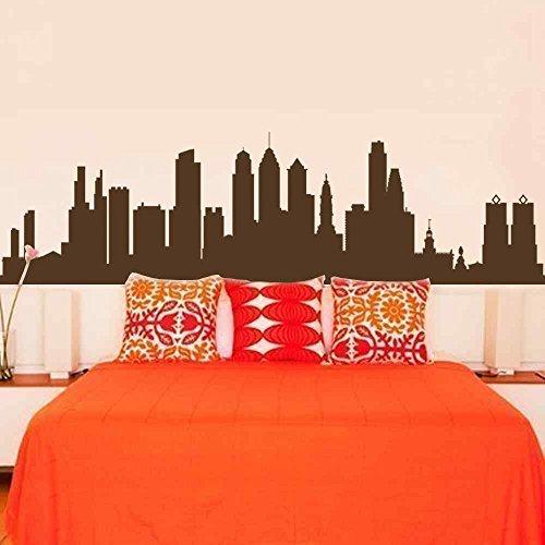 wandaufkleber 3d schlafzimmer Philadelphia Skyline Architecture Landscape Shadow Decal - Removable Vinyl Wall Sticker Mural Decal Art(10