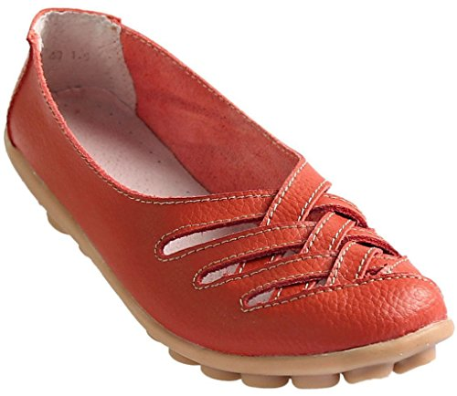 Fangsto Women's Leather Loafers Flats Sandals Slip Ons UK Size 5 Red
