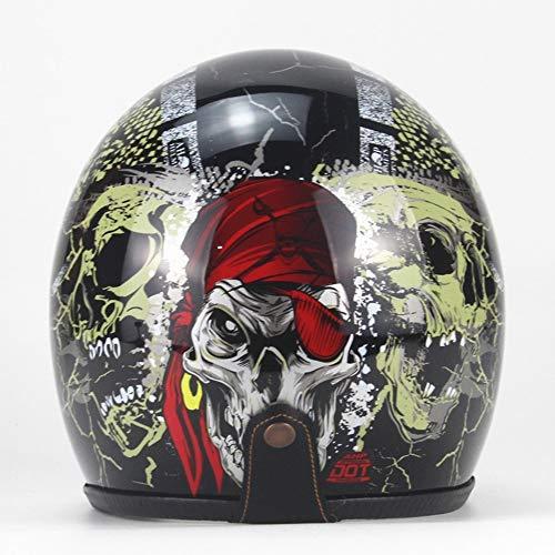 AA100 Casco Harley Casco Moto, Handmade Quattro Stagioni Personalizzati Occhiali Vintage filtri Porta Filtro Removibile (S, L, M, XL),3,M