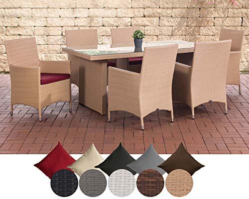 CLP Polyrattan Sitzgruppe Avignon (Tisch 180 x 90 cm + 6 x Polyrattan Stuhl Julia + Sitzauflagen), bis zu 5 Rattan-Farben + 5 Bezugsfarben wählbar Rattanfarbe: Sand, Bezugfarbe: Rubinrot