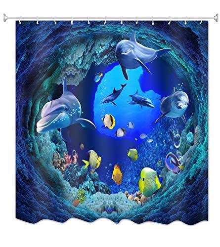 A.Monamour Duschvorhänge Blaue Tiefe Ozean Unterwasser Schwimmen Delphin Gelb Fisch Korallen Marine Leben Themed 3D Druck Wasserdicht Mehltau Resistent Polyester Stoff Duschvorhang Für Bad 150X180 Cm / 60