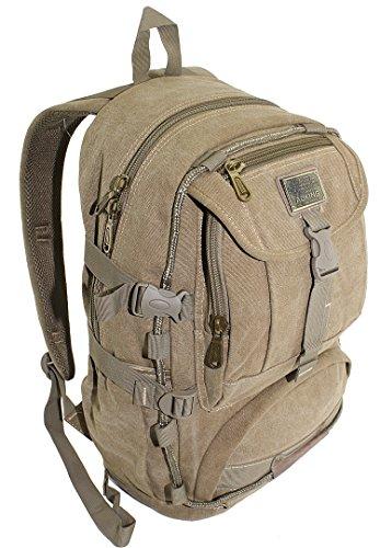 Rucksack Backpack Sport Freizeit Schule Reise Outdoor Wandern Trekking NEU Grau Olive Beige (Beige)
