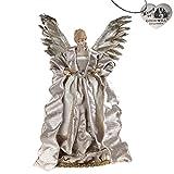 Goodwill - Puntale per albero di Natale, a forma di angelo con ali piumate, altezza 40 cm, colore: panna e rame