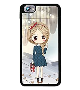 Fuson Premium 2D Back Case Cover Cute office Girl With black Background Degined For Micromax Canvas Fire 4 A107