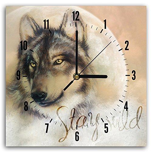Feeby, Wanduhr, mehrfarbige Deco Panel Bild mit Uhr, 30x30 cm, WOLF, TIER, BRAUN