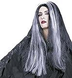 Widmann 6070D–Perruque de sorcière Mortisia noir avec mèches