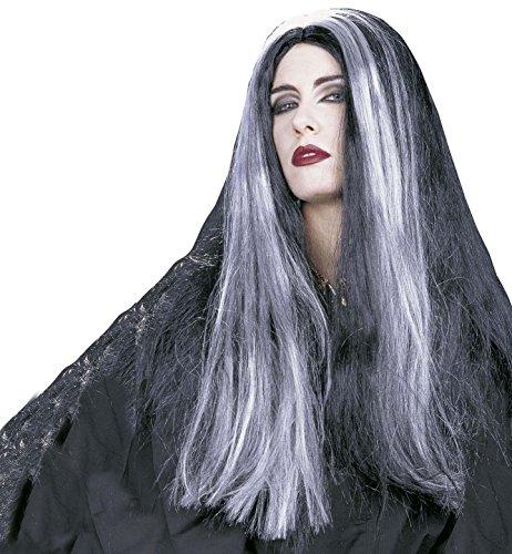 Parrucca 'mortisia' - lunga liscia, nera, meches grigie - adulto