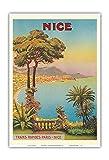 Nice, France - Côte d'Azur - Affiche Ancienne Vintage Tourisme Voyage du Monde Mondial Poster de Morel De Tangry c.1900 - Reproduction Professionelle d'art Master Art Print - 33cm in x 48cm...