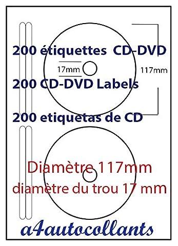 200 Étiquettes CD-DVD - 100 Feuille a4 avec 2 étiquette en papier blanc mat de qualité supérieure 70g/m2 avec feuille de support blanc / backing silicone 66g/m2. Nos planches d'étiquettes sont 100% compatibles toutes imprimantes bureautique: jet d'encre, laser, copieur et numérique