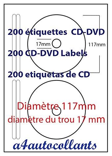Lote de 100 hojas A4 con 200 etiquetas autoadhesivas para CD y DVD