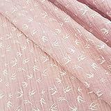 Meterware Stoff Baumwolle Musselin rosa Schwalbe Pastell