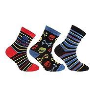 Childrens Boys Skull/Player 1 Design Cotton Rich Socks (Pack Of 3) (UK Child 12.5-3.5, EUR 31-36) (Red/Black/Blue)