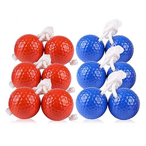 Kaptin 6Pack Leiter Toss Ball Ersatz Leiter Golf Bälle Bolos Bolas mit Echten Golf Bälle (Rot und Blau) (Blau Und Orange Golf-bag)