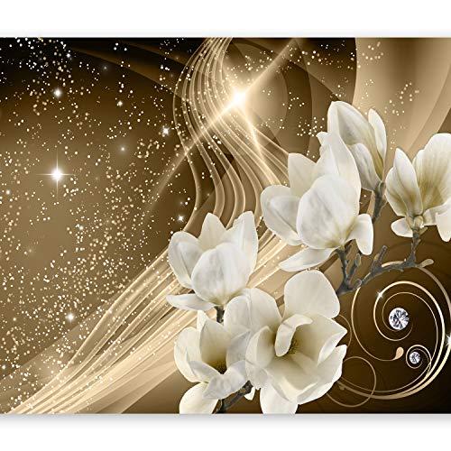 murando - Fototapete 400x280 cm - Vlies Tapete - Moderne Wanddeko - Design Tapete - Wandtapete - Wand Dekoration - Magnolien Abstrakt Blitz Diamant Braun Gold Blumen b-A-0237-a-b
