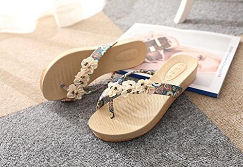 YOUJIA Femmes Peep Clip Toe Sandal Compensées Bohême Fleur Sandales Plage Flip Flops #2 Bleu
