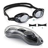 Aegend Schwimmbrille, dicht, Anti-Beschlag-Schutz, UV-Schutz, inkl. Etui, Taucherbrille für Erwachsene, Damen, Herren, Jugendliche, Kinder, für Triathlon – Schwarz, 04-Light Grey Flat Lens