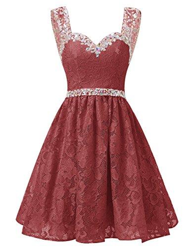 Dresstells Damen Herzform Ausschnitte Spitze Kurz Cocktailkleid Homecoming Kleider Burgundy