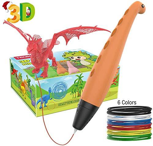 3D Stift, Tecboss 3D Stifte für Kinder, 2-Gang-Dinosaurier STEM-Spielzeug 3D Druck Stift mit Safe- und Sleep-Modus, das Weihnachtsgeschenk für 6/7/8/9/10-Jährige Jungen und Mädchen
