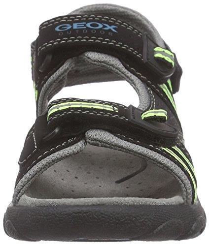 Geox Sandal Strada A - Sandali  Ragazzi Schwarz (BLACK/LIMEC0802)