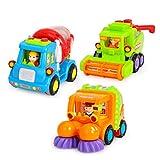 STOBOK 3pcs Jouets à Friction Voiture Miniature Mini Véhicule Bétonnière Balayeur et Moissonneuse Jouet à Pousser et à Tirer Educatifs pour Enfants