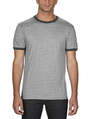 anvil Herren Ringer T-Shirt / 988, Mehrfarbig, Gr. X-Large, Grau (HGY/Heather Dark Grey FZ346) (T-shirt Heather Ringer)