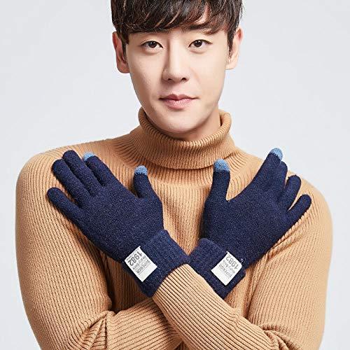GXMGYT Winter Paar Touchscreen Handschuhe Wolle stricken warme Handschuhe unisex Outdoor plus Samt elastisch gute Ferien Geschenk-One size_B dunkelblau