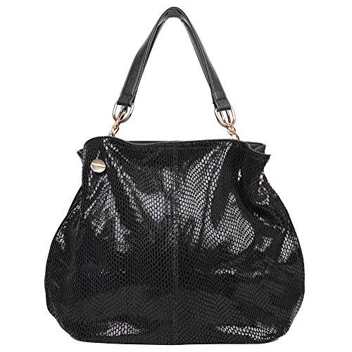 EGOGO Damen Handtasche Leder Henkeltasche Design Serpentine Muster Für Fraun Shopper Tasche Schultertasche E522-3 (Schwarz) (Metall-link-schulter-handtasche)