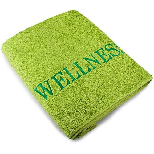 Sauna-Handtuch Strandlaken   verschiedene Farben   80 x 200 cm Baumwolle Frottee   aqua-textil 0010145   mit Stickerei   Wellness uni grün