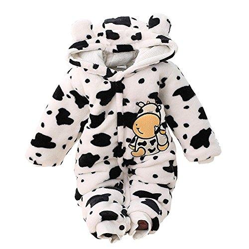 Taiycyxgan Winter Baby Mädchen Jungen Fleece Overalls Einteiliger Schneeanzug Milch Kuh Spielanzug mit Kapuze 0-12 Monate Weiß 3-6 Monate