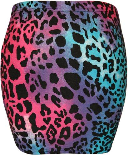 WearAll - Damen Bedruckt Dehnbar Jersey Figurbetontes Kurz Mini-Rock - 12 Mustern - Größen 36-42 Türkis Cerise Tier