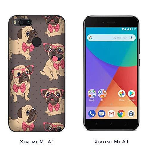Hülle Mi A1 Case Xiaomi Mi A1 Lustige Tiere Hund Bogen Brille/Cover Druck auch an den Seiten/Anti-Rutsch Anti-Rutsch Anti-Scratch Schock-resistenten Schutz Schutzulle Starre