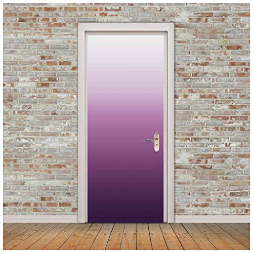 ZHANGDONGLAI Türaufkleber Weiß Lila Farbverlauf Einfache Tür Dekorfolie Selbstklebendes Papier Kreatives Selbstklebendes Papier 77 * 200CM