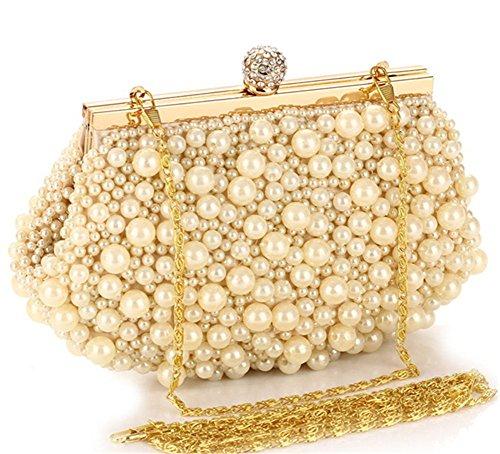 ERGEOB Damen Clutch Perle Abendtasche Diamante Tasche für Event Party Hochzeit Theater Kino weiss 02 Champagner Farbe