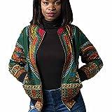 lonshell–Giacca da donna, African Dashiki autunno inverno abiti a maniche lunghe Moda modello cappotto Top Camicetta W41, Donna, verde