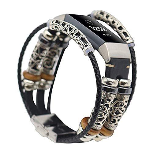 AllRing Armband für Fitbit Charge 3 Ersatzarmband Vintag Leder mit Klassische Edelstahlschnalle Uhrenarmbänder,Replacement Lederarmband Schnellverschluss für Herren Damen Schwarz